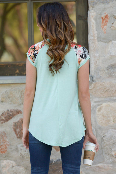 City Limits Top - Mint floral print sleeve top, back, Closet Candy Boutique