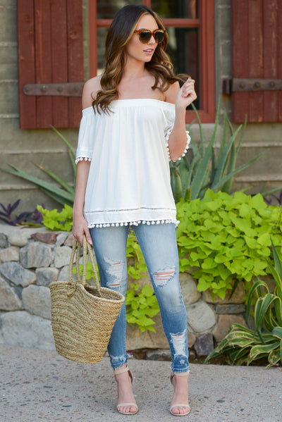 All My Love Top - Ivory off the shoulder pom pom trim top, front, Closet Candy Boutique