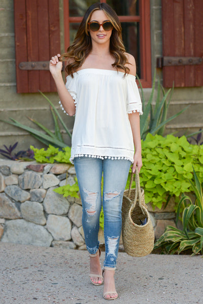 All My Love Top - Ivory off the shoulder pom pom trim top, outfit, Closet Candy Boutique