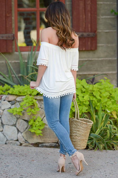 All My Love Top - Ivory off the shoulder pom pom trim top, back, Closet Candy Boutique