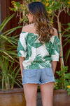Summer Sunset Top - Ivory off the shoulder palm leaf print top, back, Closet Candy Boutique