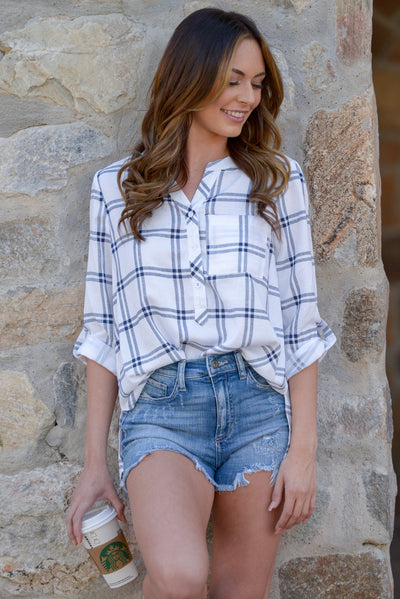 Carefree Living Top - Ivory plaid button up top, outfit, Closet Candy Boutique