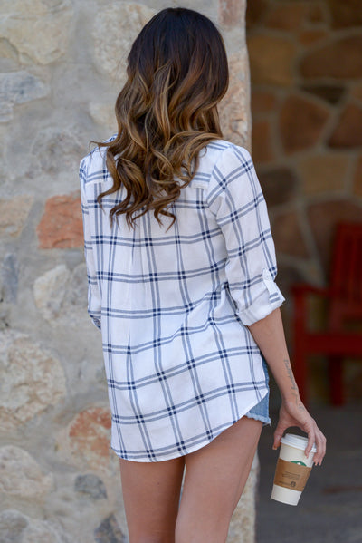 Carefree Living Top - Ivory plaid button up top, back, Closet Candy Boutique
