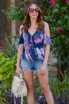 LOVE STITCH Universe Top - Navy/Pink cold shoulder tie dye top, front, Closet Candy Boutique