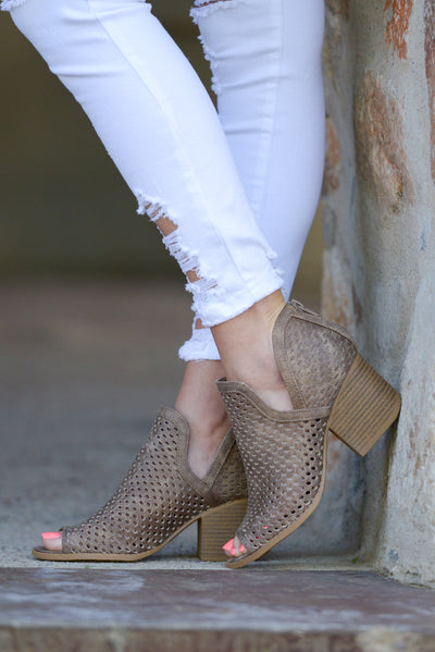 Follow Your Footsteps Booties - Taupe v-slit perforated booties, side, Closet Candy Boutique