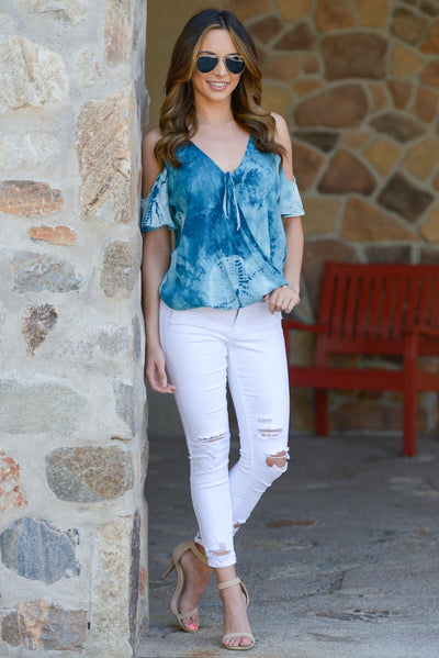 LOVE STITCH Universe Top - Blue tie dye v-neck cold shoulder top, cute outfit, Closet Candy Boutique