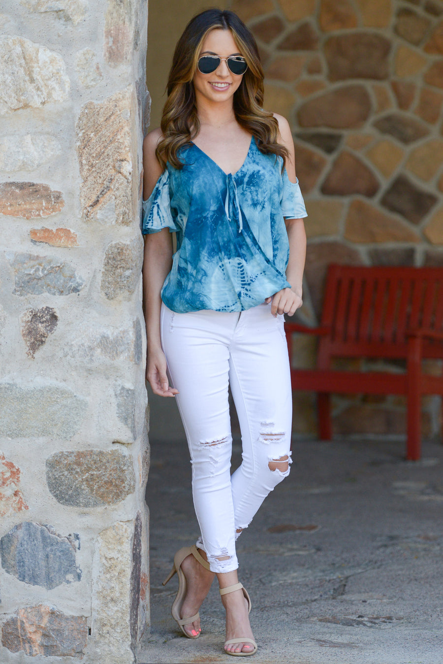 LOVE STITCH Universe Top - Blue tie dye v-neck cold shoulder top, front, Closet Candy Boutique