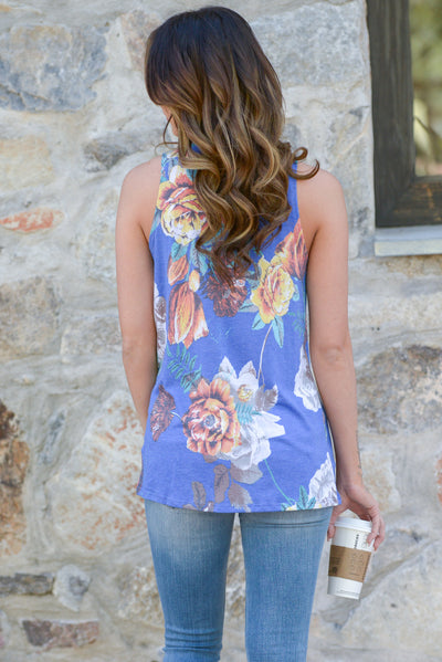 Meet Me In Paradise Top - Blue floral print knot top, back, Closet Candy Boutique