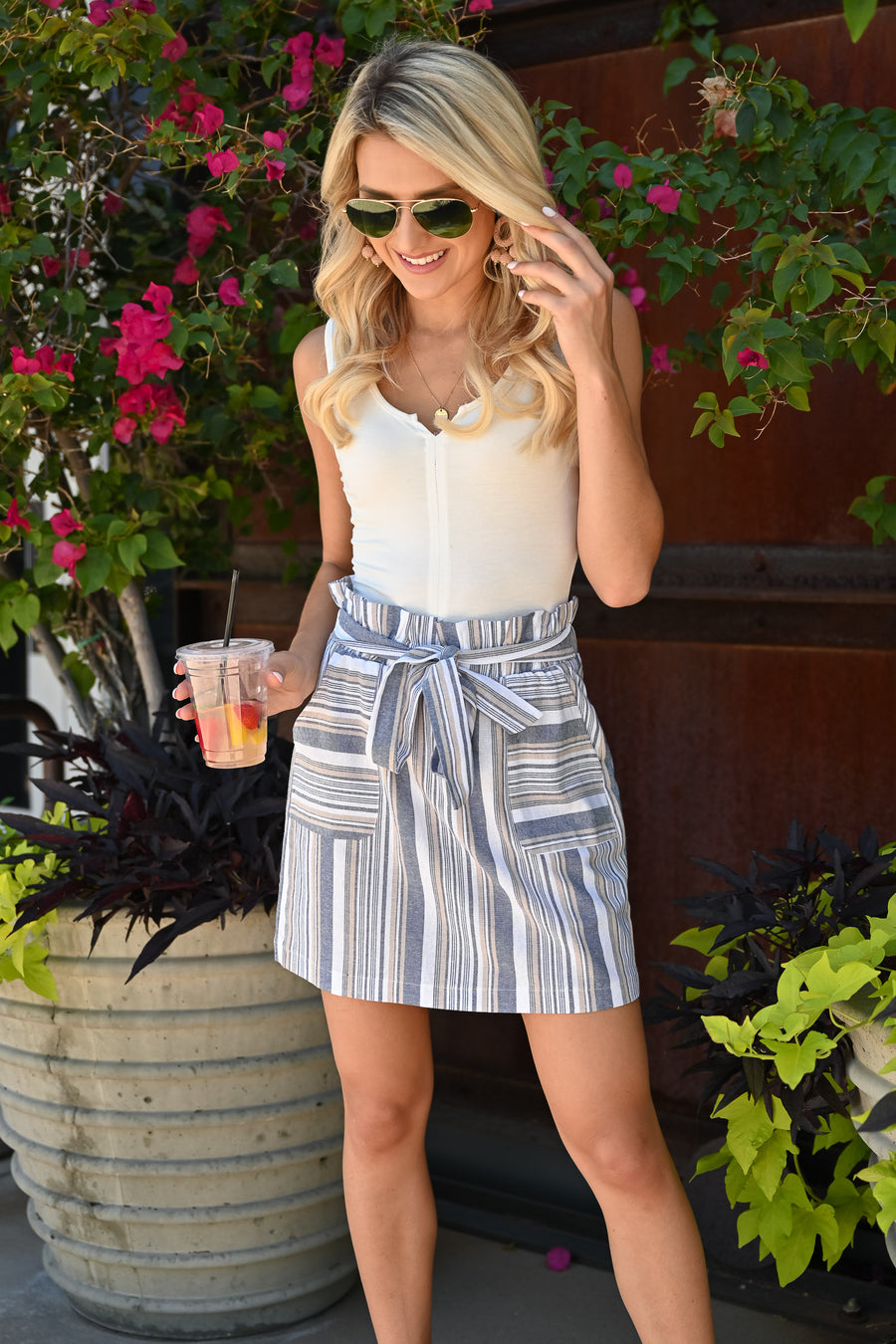 Under The Sky Paper Bag Skirt - Blue womens trendy striped tie front skirt closet candy full