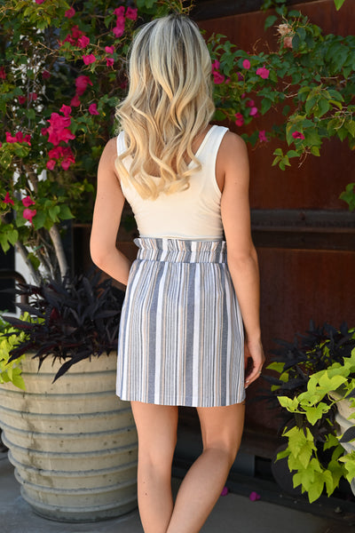 Under The Sky Paper Bag Skirt - Blue womens trendy striped tie front skirt closet candy back