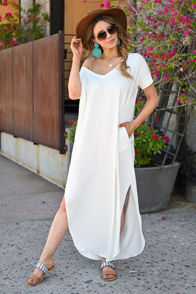 I'll Be By The Pool Maxi Dress - Ivory womens trendy long v-neck dress closet candy front