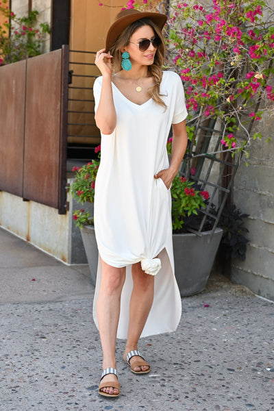 I'll Be By The Pool Maxi Dress - Ivory womens trendy long v-neck dress closet candy front3
