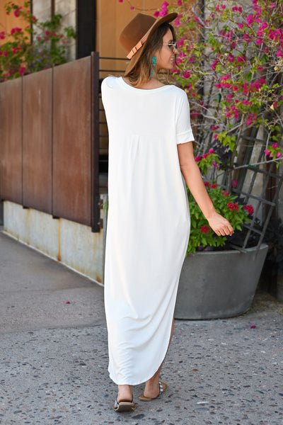 I'll Be By The Pool Maxi Dress - Ivory womens trendy long v-neck dress closet candy back