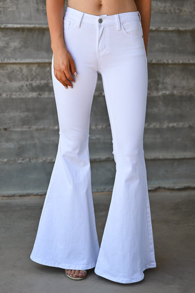 JUDY BLUE Jackie Flare Jeans - White womens trendy bell bottom denim white closet candy 1