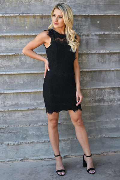 Champagne Please Lace Dress  - Black womens elegant scallop edge lace detail keyhole back fitted dress closet candy front