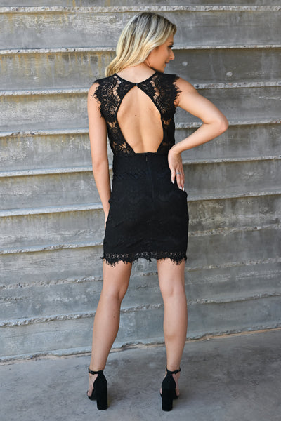 Champagne Please Lace Dress  - Black womens elegant scallop edge lace detail keyhole back fitted dress closet candy back