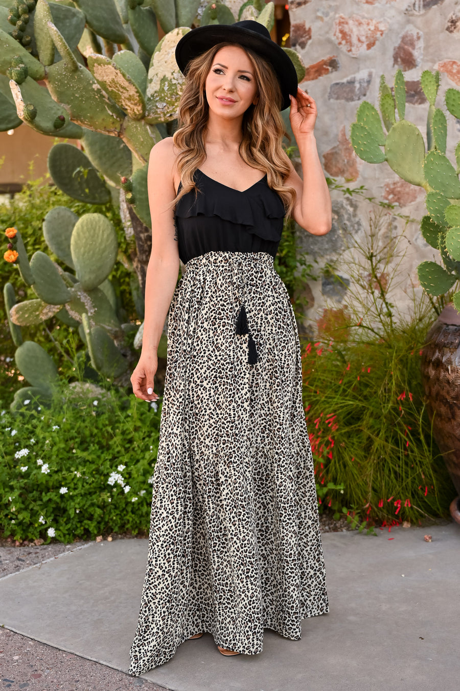 Wild Side Maxi Dress - Leopard womens trendy long dress with spaghetti straps and tie front closet candy side