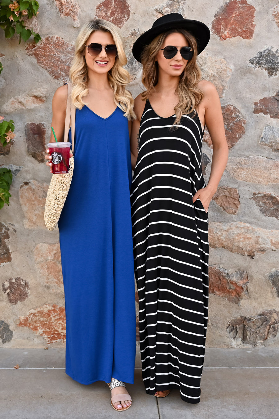 Something Simple Maxi Dress - Navy womens casual solid adjustable strap long dress closet candy 1
