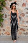 Something Simple Striped Maxi Dress - Black womens casual striped adjustable strap long dress closet candy front