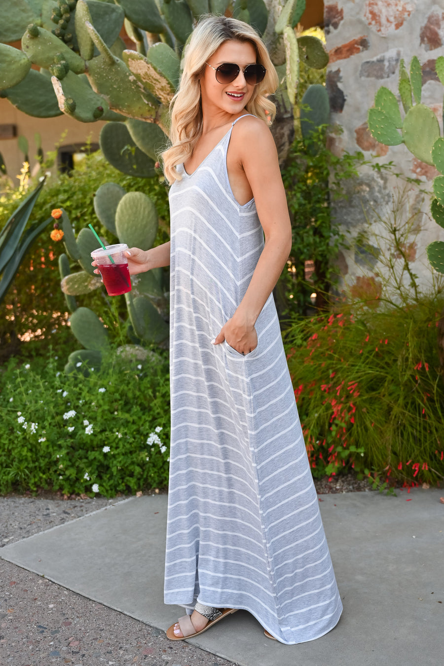 Something Simple Striped Maxi Dress - Heather Grey womens casual spaghetti strap striped long dress front
