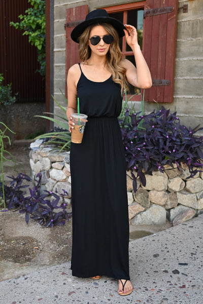 Beachside Classic Maxi - Black womens trendy spaghetti strap long dress closet candy front