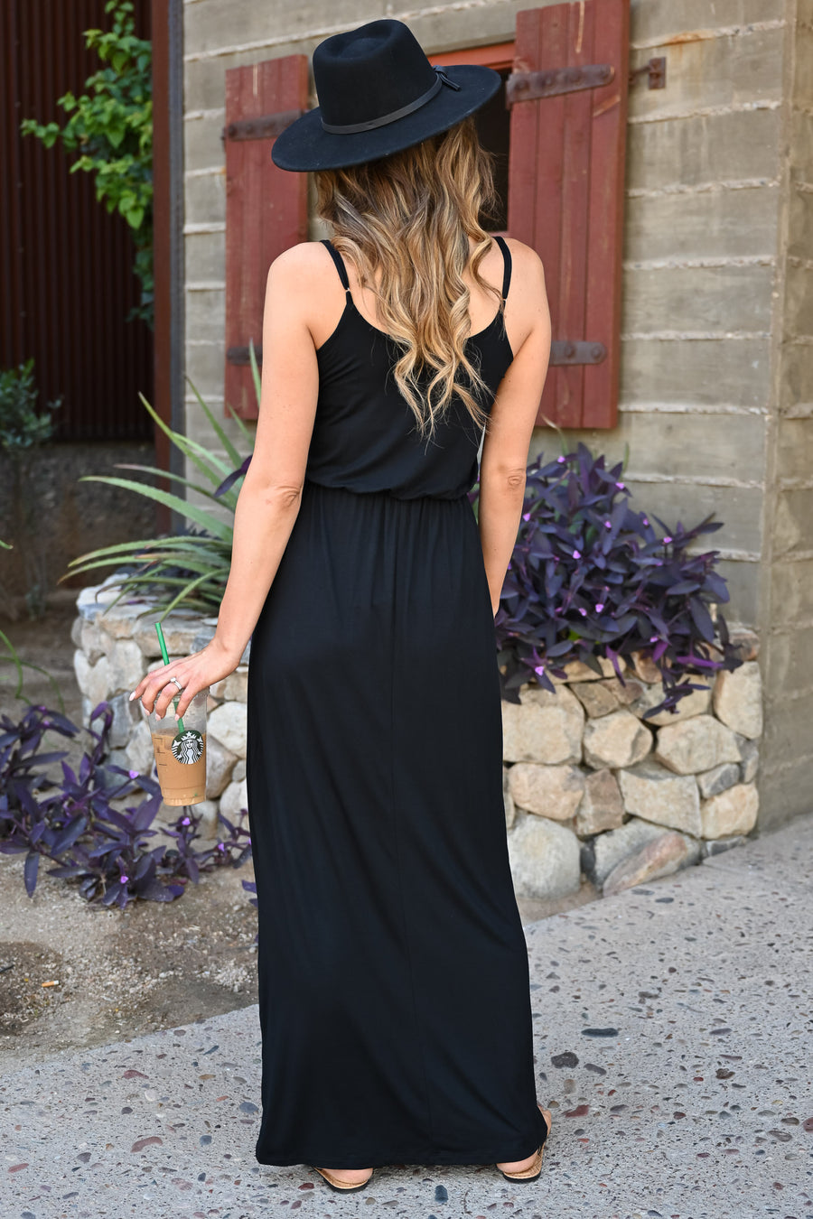 Beachside Classic Maxi - Black womens trendy spaghetti strap long dress closet candy front two