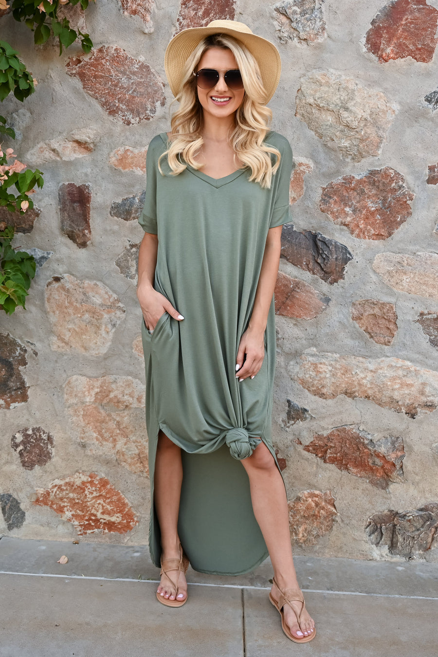 I'll Be By The Pool Maxi Dress - Olive womens casual solid short sleeve long dress closet candy 1