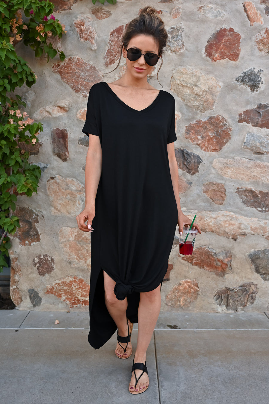 I'll Be By The Pool Maxi Dress - Black womens casual solid short sleeve long dress closet candy 1