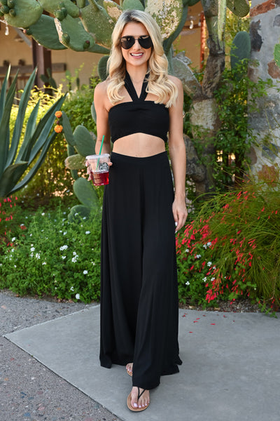 Escape to Bali Pant Set - Black womens tube top and wide leg pants closet candy 5