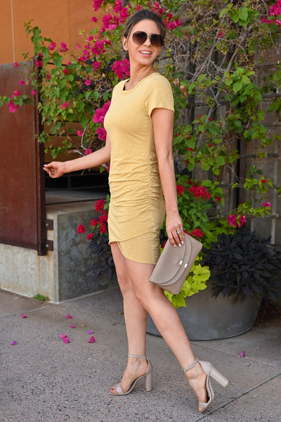 Nothing Better T-Shirt Dress - Mustard womens casual short sleeve ruched dress closet candy side
