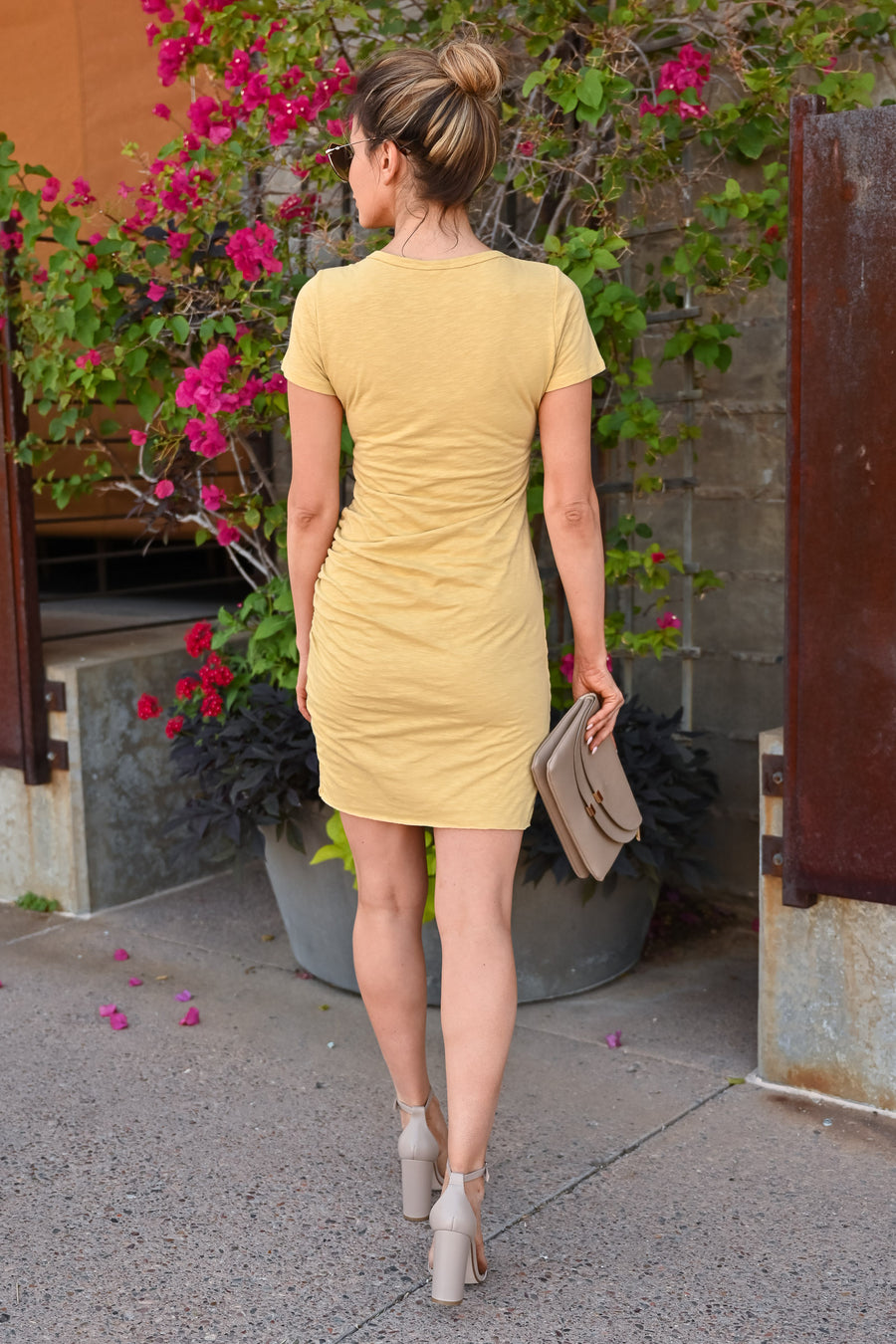 Nothing Better T-Shirt Dress - Mustard womens casual short sleeve ruched dress closet candy front