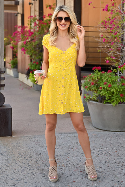 Walking on Sunshine Dress - womens summer dress with floral detail closet candy front 3