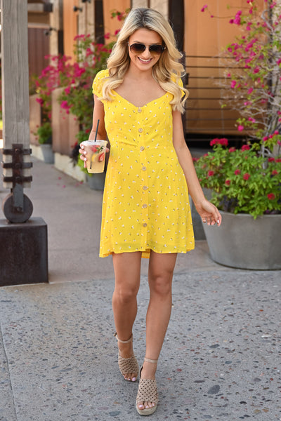 Walking on Sunshine Dress - womens summer dress with floral detail closet candy front two