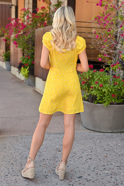 Walking on Sunshine Dress - womens summer dress with floral detail closet candy back