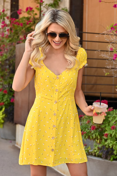 Walking on Sunshine Dress - womens summer dress with floral detail closet candy front