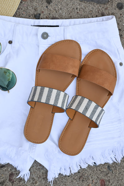 Athena Slide Sandals - Camel & Stripes womens flat slide on sandals closet candy flatlay