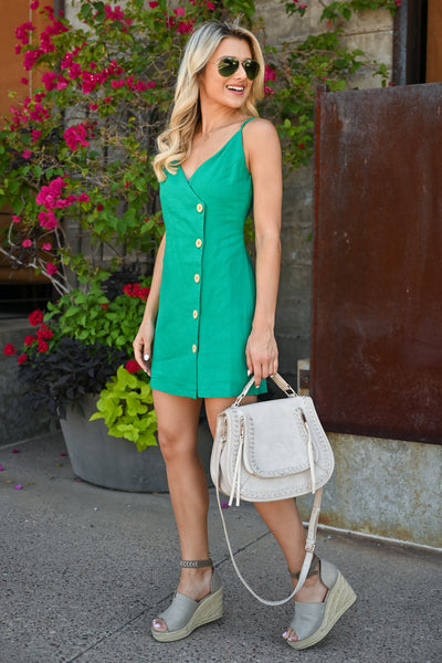 Off Ocean Ave Wrap Dress - Kelly Green womens mini wrap dress with button detail closet candy side