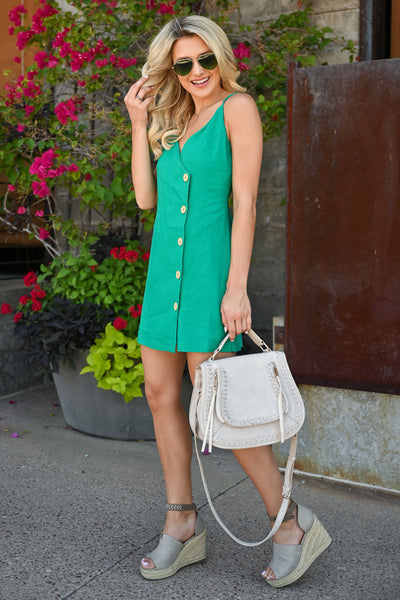 Off Ocean Ave Wrap Dress - Kelly Green womens mini wrap dress with button detail closet candy side 2