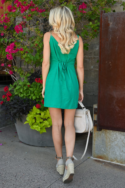 Off Ocean Ave Wrap Dress - Kelly Green womens mini wrap dress with button detail closet candy back