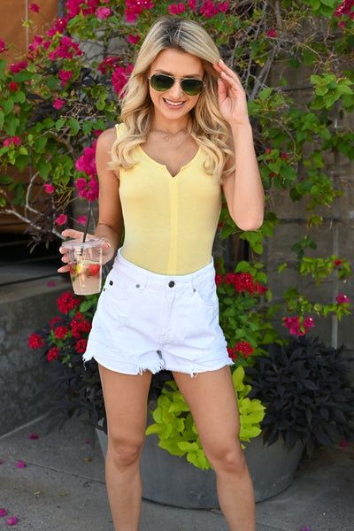 Victoria Sleeveless Bodysuit - Buttercup womens knit bodysuit with notch neckline closet candy close