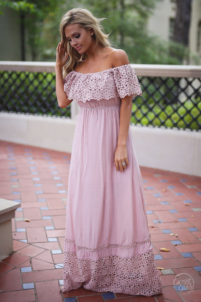 Closet Candy Boutique, Dreaming in Daisies Maxi Dress, trendy and cute women's clothing, baby shower dress, baby shower outfit, off the shoulder dress, maxi dress, spring outfit, summer outfit, summer style, side view