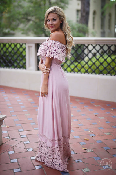 Closet Candy Boutique, Dreaming in Daisies Maxi Dress, trendy and cute women's clothing, off the shoulder dress, maxi dress, spring outfit, summer outfit, summer style, side view