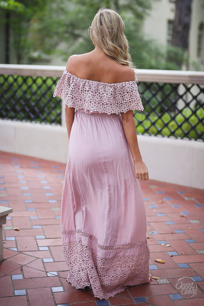 Closet Candy Boutique, Dreaming in Daisies Maxi Dress, trendy and cute women's clothing, off the shoulder dress, maxi dress, spring outfit, summer outfit, summer style, back view