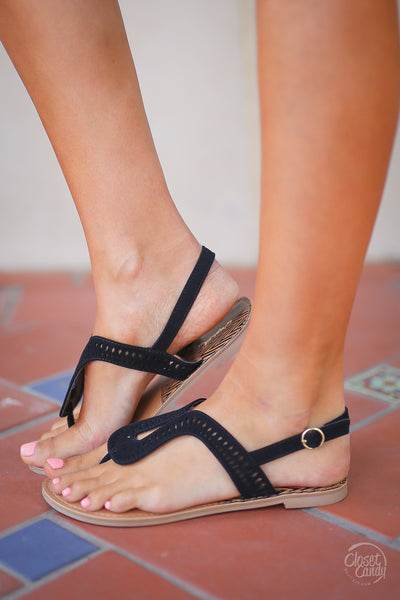On the Road Again Sandals - Black