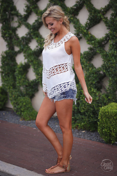 Closet Candy Boutique, Day Date Top, trendy and cute white crochet sleeveless top, spring and summer outfit shirt, side view