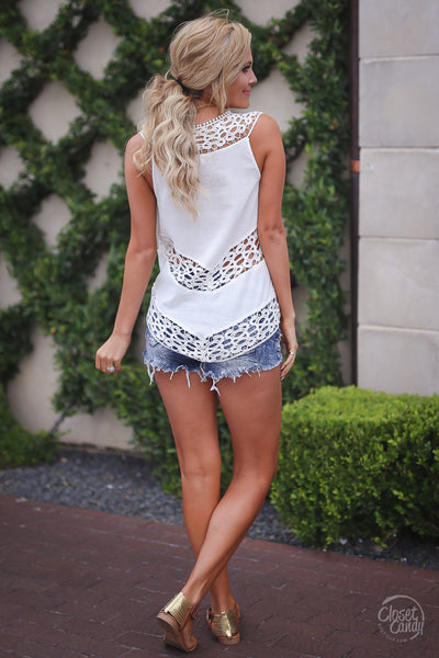 Closet Candy Boutique, Day Date Top, trendy and cute white crochet sleeveless top, spring and summer outfit shirt, back view