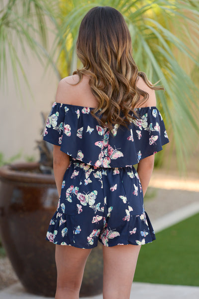 Time to Fly Romper - Navy off the shoulder butterfly print romper, back, Closet Candy Boutique