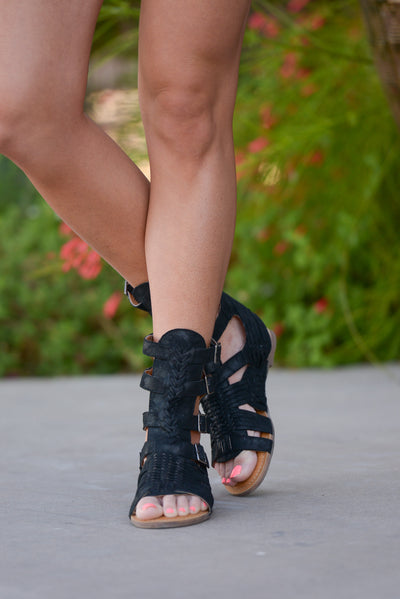 Step In the Right Direction Sandals - Black gladiator sandals, front, Closet Candy Boutique