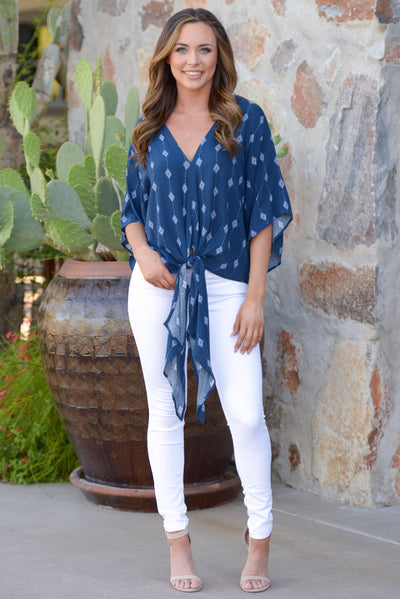 Dance All Night Top - Navy printed tie front top, front view, Closet Candy Boutique