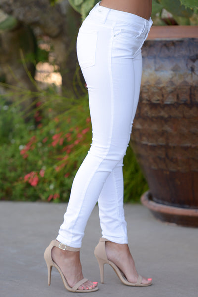 All Day Long Jeans - cute white skinny jeans, side, Closet Candy Boutique